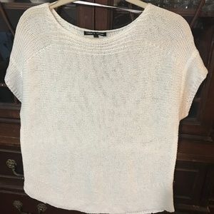 cable and gauge knit short sleeve sweater top